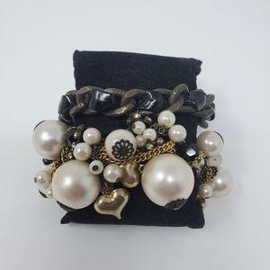 Betsey Johnson Brass tone chainMulticharm bracelet